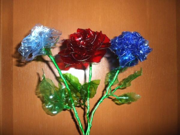 Розы из пластиковой бутылки своими руками