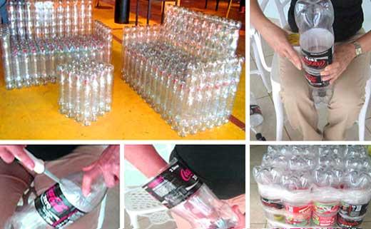 Пуфик своими руками из пластиковых бутылок пошагово