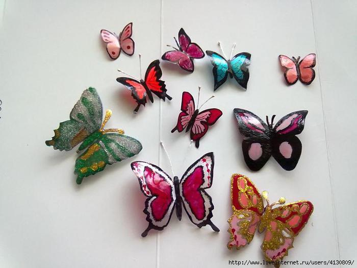 Бабочки из бутылки своими руками фото