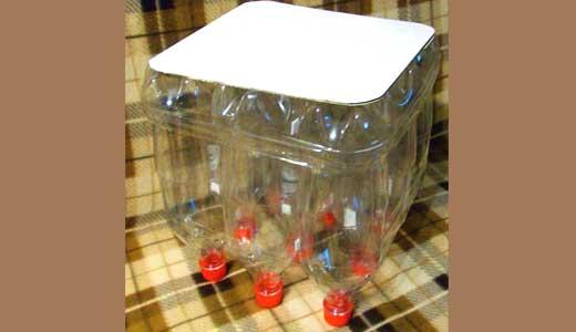 Мягкая табуретка из пластиковых бутылок 2